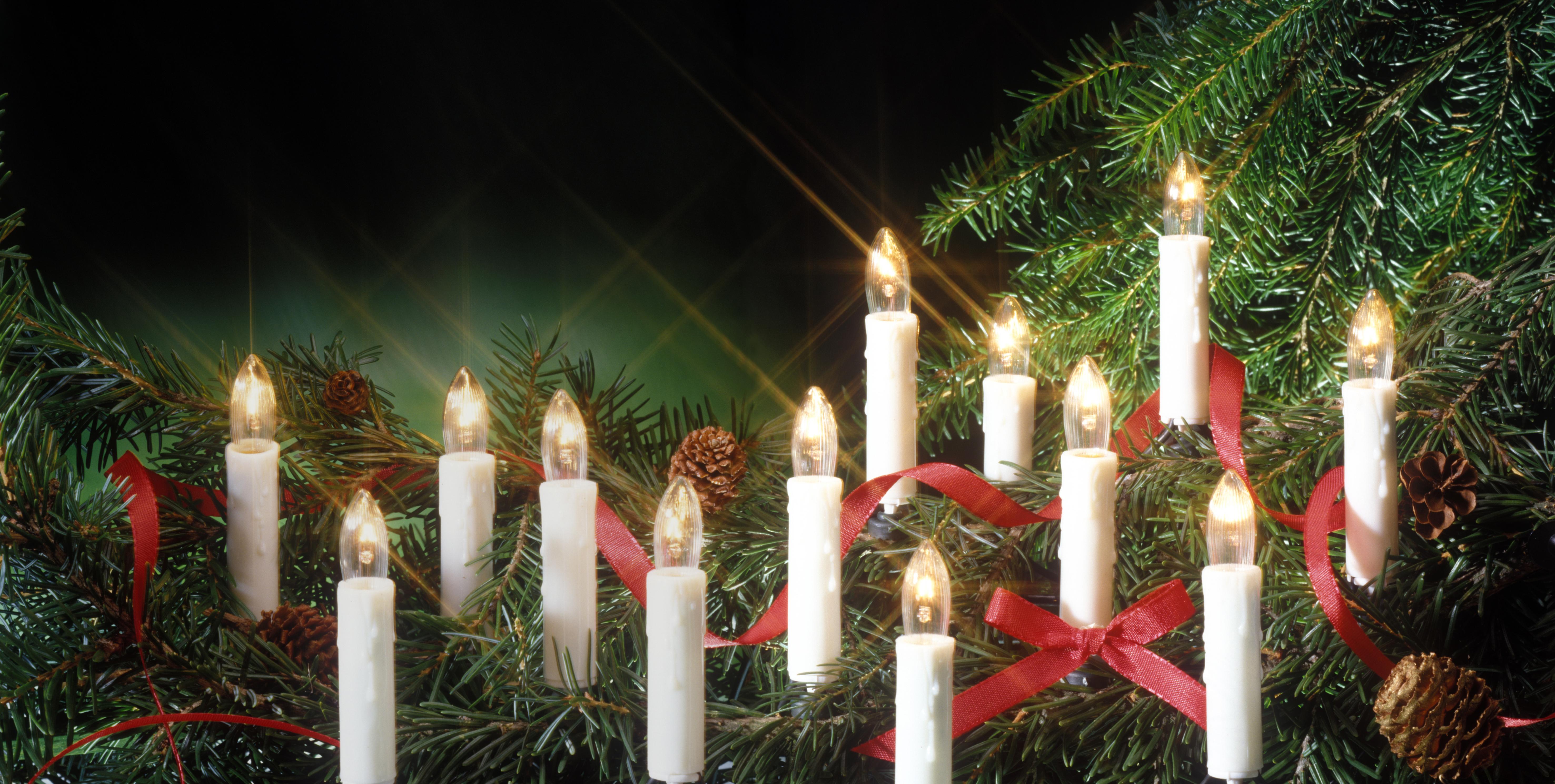Illuminazione dell albero di natale candele di cera candele