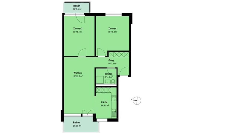 Beispiel: Die Zimmer 1 und 2 sowie der kleine Balkon dieser Wohnung liegen zur Ostseite mit Morgensonne. Das Wohnzimmer, die Küche und der grössere Balkon profitieren von der Abendsonne.