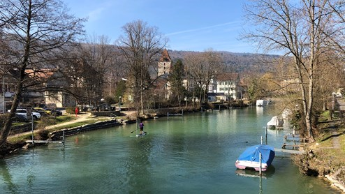 Nidau Dorf Kanal Aare